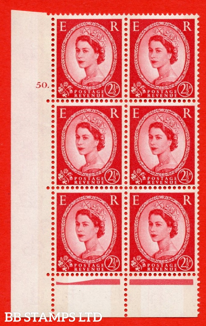 "SG. 614. S61. 2½d carmine red. A superb UNMOUNTED MINT "" cylinder 50 dot "" control block of 6 with perf type C (E/P). Green Phosphor."