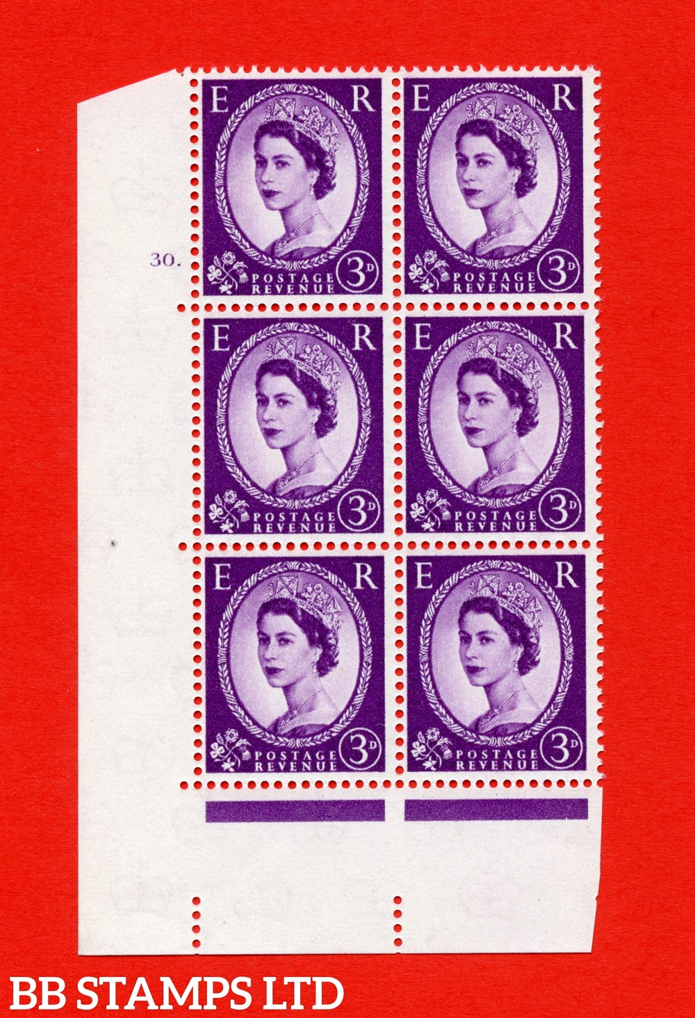 "SG. 575. S70. 3d Deep lilac.Type I. A superb UNMOUNTED MINT "" cylinder 30 dot "" control block of 6 with perf type A E/I. CREAM paper."