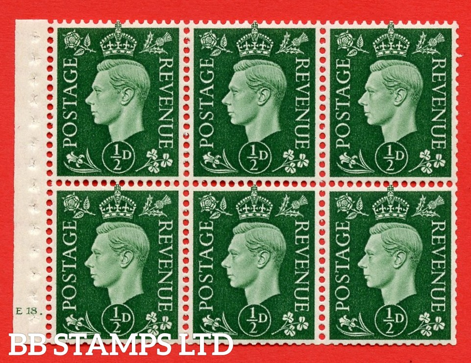 SG. QB1 Perf Type B4A(I). ½d Green x 6 Pane, UNMOUNTED MINT Watermark Upright. Cylinder Pane E18 dot ( SG. 462b ) Perf Type B4A(I). Good Perfs.