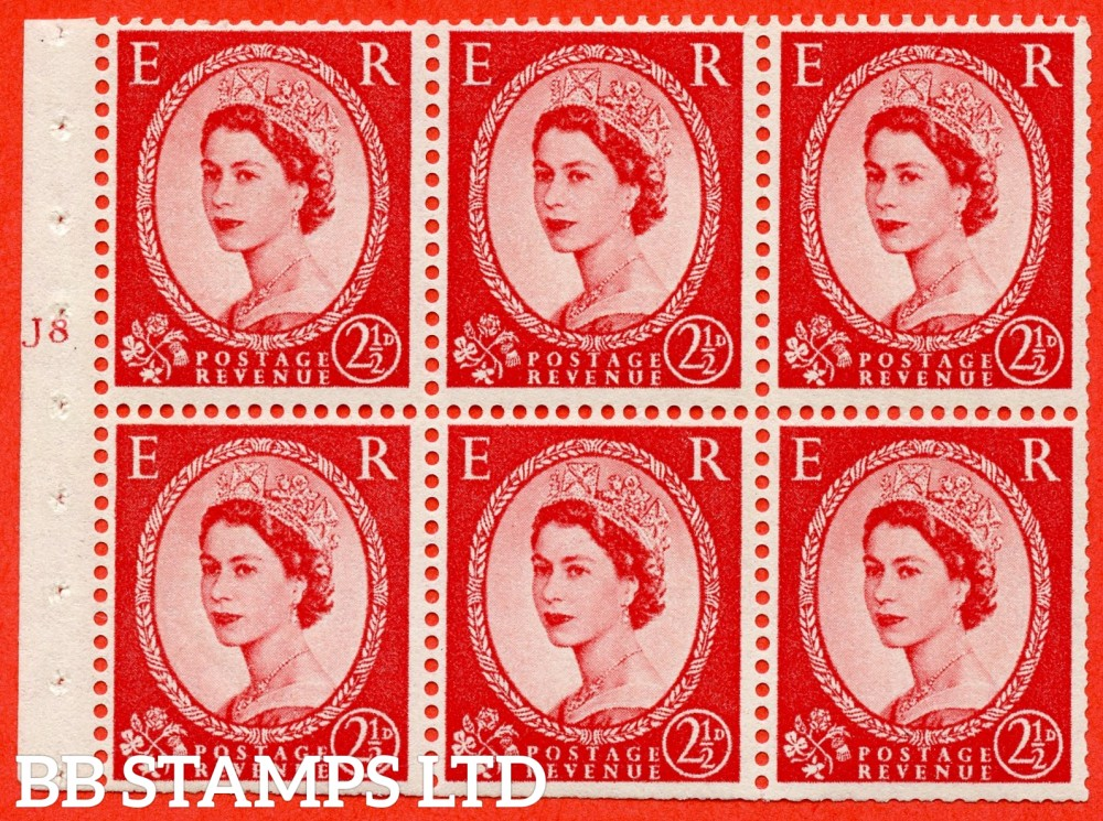 "SG. 544b. SB81. 2½d carmine - red. A fine UNMOUNTED MINT "" J8 T no dot "" booklet pane of 6. Perf type (I) with TRIMMED PERFS. Smooth edge."