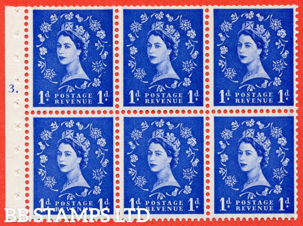 "SG. 571. SB30. 1d Ultramarine. A fine mounted mint cylinder "" F3 T dot "" booklet pane of 6. Perf type (Ieb) with TRIMMED PERFS. Smooth edge Cream paper."