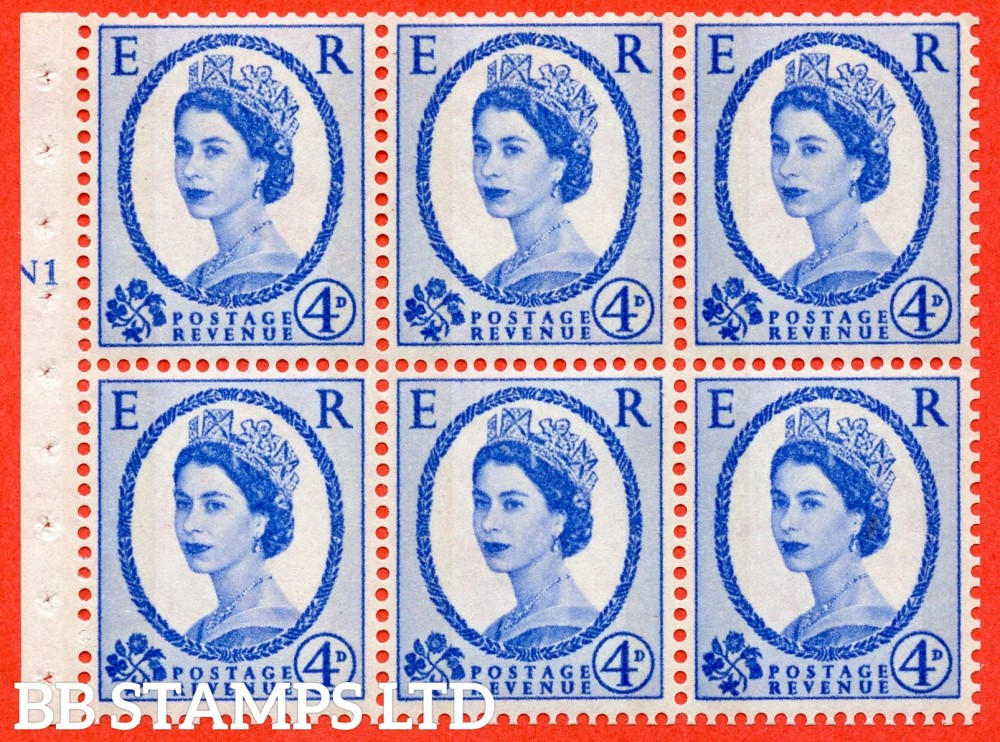 "SG. 616a. SB109. 4d Deep Ultramarine. A fine UNMOUNTED MINT cylinder "" N1 T no dot "" booklet pane of 6. Perf type (I) with GOOD PERFS. Smooth edge. White Paper."