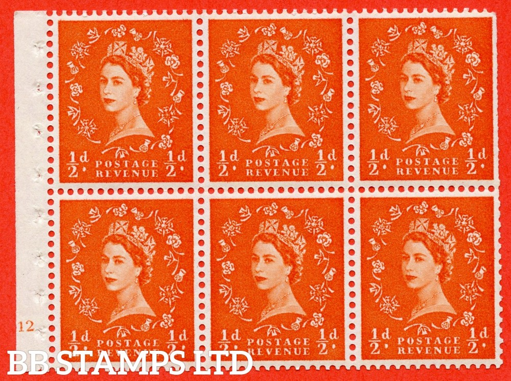 "SG. 570. SB8. ½d orange - red. A fine UNMOUNTED MINT cylinder "" E12 dot "" booklet pane of 6. Perf type (I) with TRIMMED PERFS. Smooth edge White paper."