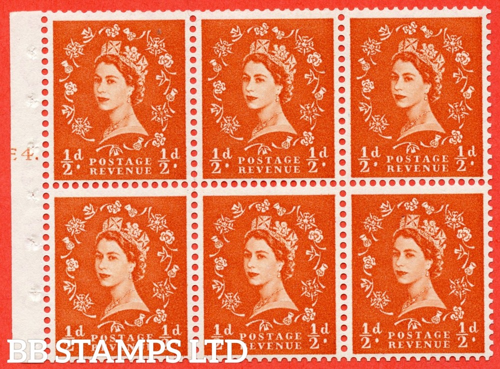 "SG. 540. SB4. ½d orange - red. A fine mounted mint cylinder "" E4 T dot "" booklet pane of 6. Perf type (Ieb) with TRIMMED PERFS. Smooth edge."