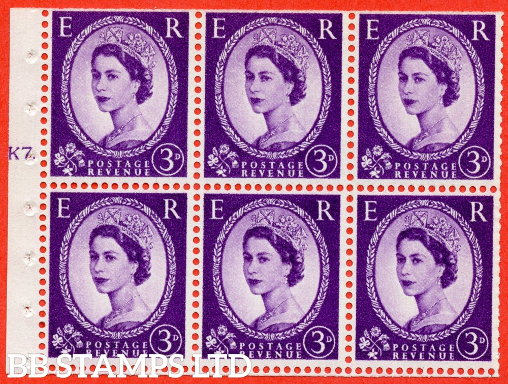 "SG. 575. SB92. 3d Deep Lilac. A fine UNMOUNTED MINT cylinder "" K7 T dot "" booklet pane of 6. Perf type (Iet) with TRIMMED PERFS. Smooth edge. Cream paper."
