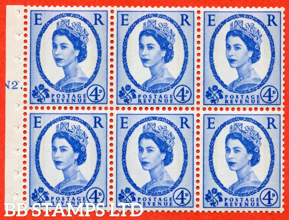 "SG. 616a. SB111. 4d Deep Ultramarine. A fine UNMOUNTED MINT cylinder "" N2 T dot "" booklet pane of 6. Perf type (Ieb) with GOOD PERFS. Smooth edge."