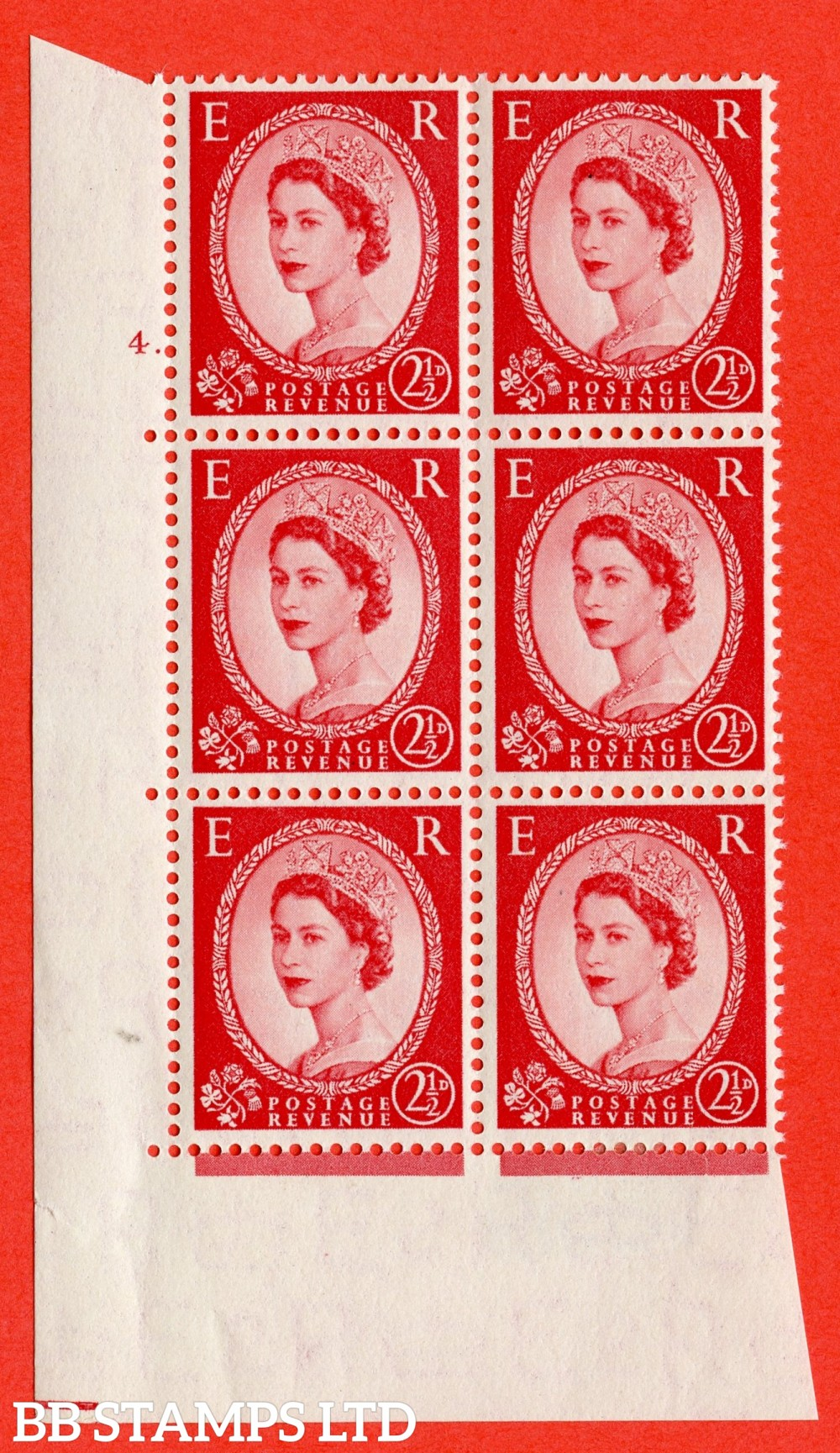 "SG. 519. S50. 2½d Carmine Red. A fine mounted mint "" cylinder 4 dot "" control block of 6 with perf type A E/I."