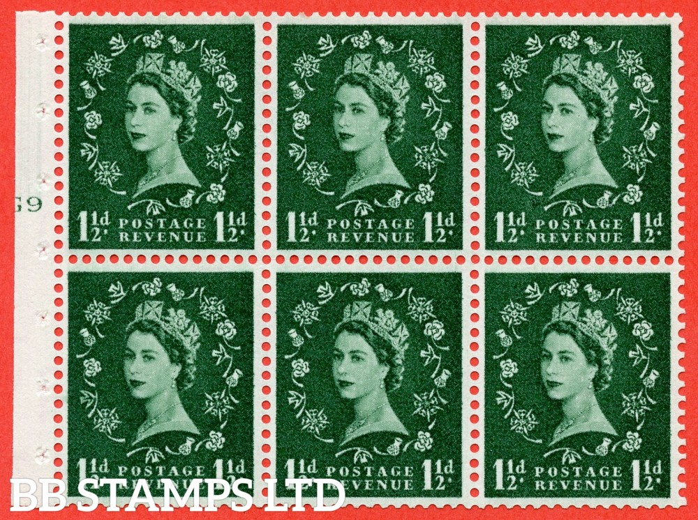 "SG. 542. SB62. 1½d green. A fine mounted mint cylinder "" G9 T no dot "" booklet pane of 6. Perf type (I) with TRIMMED PERFS. Smooth edge."