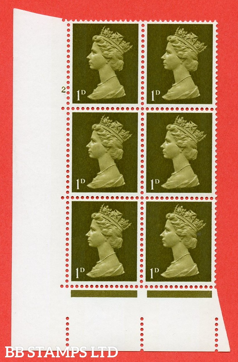 "SG. 724. U2 (1) . 1d light olive A superb UNMOUNTED MINT "" cylinder 2 no dot "" control block of 6 with perf type A E/I. PVA gum. Head A."