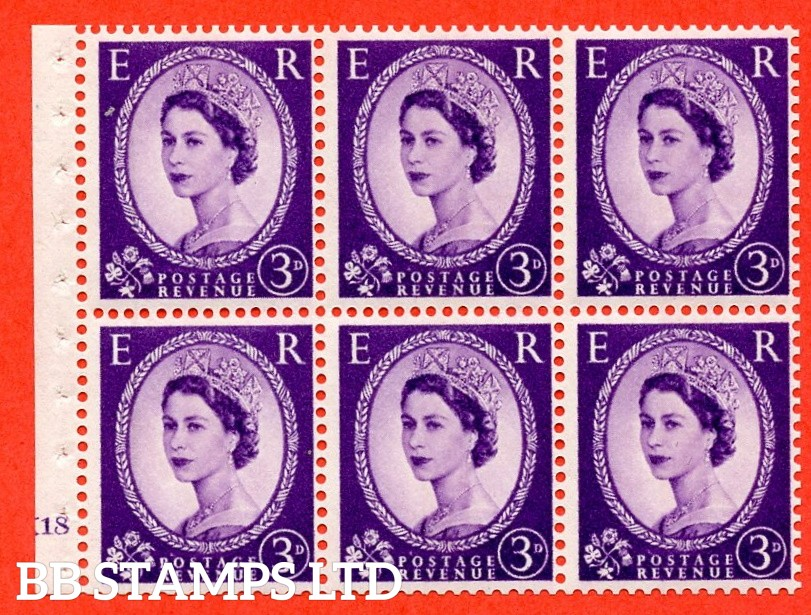 "SG. 615. SB104. 3d Deep Lilac. A fine UNMOUNTED MINT cylinder "" K18 no dot "" booklet pane of 6. Perf type (I) with GOOD PERFS. Smooth edge."
