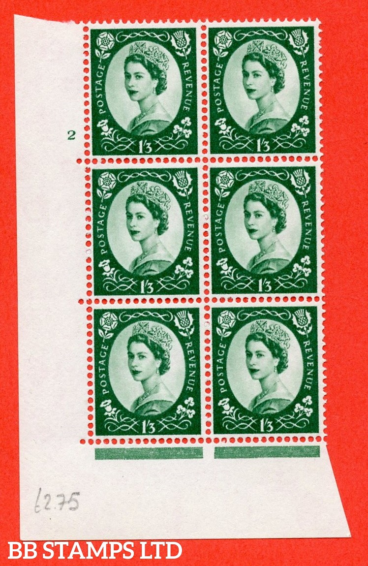"SG. 585. S144. 1s 3d. Green. A superb UNMOUNTED MINT "" cylinder 2 no dot "" control block of 6 with perf type A E/I. WHITE paper."