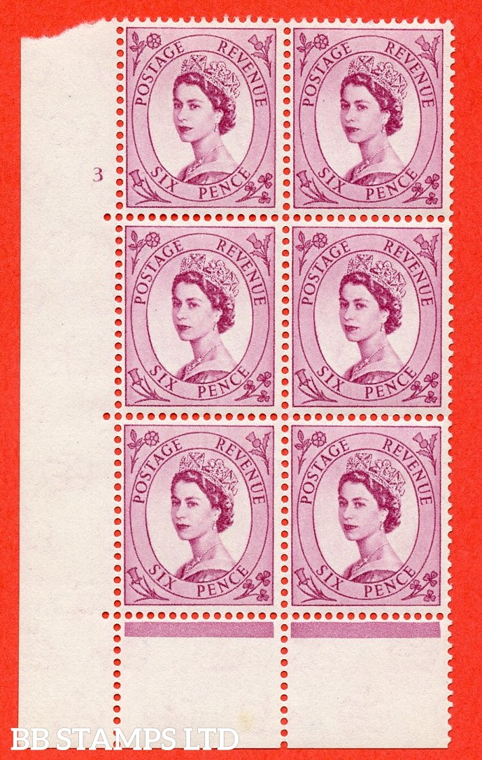 """SG. 579 S107. 6d Deep claret  A superb UNMOUNTED MINT """" cylinder 3 no dot """" control block of 6 with perf type C (E/P)."""