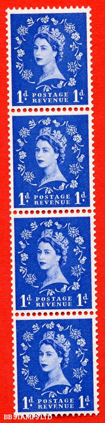 SG. 571. S16n. 1d Ultramarine. A superb UNMOUNTED MINT example. Coil strip of 4. Cream paper. With a spot on thistle head ERROR. Roll 1 variety.
