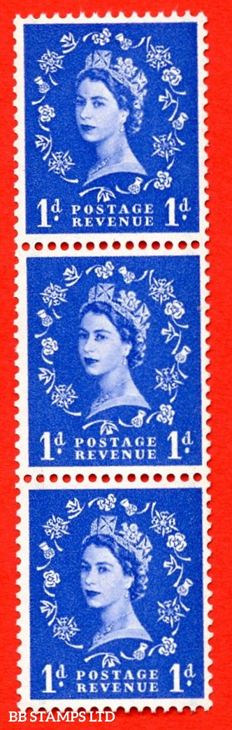 SG. 562. S15e. 1d Ultramarine. A superb UNMOUNTED MINT example. Upright coil strip of 3. With a white flaw on shamrock leaf. ERROR. Roll 8 variety.