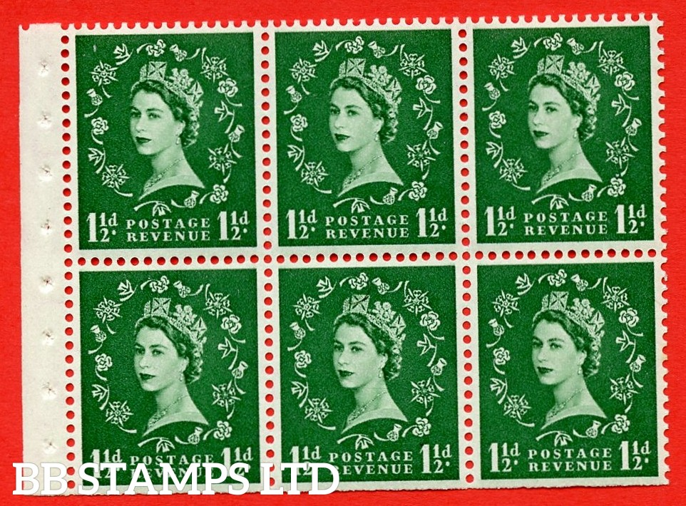 SG. 517. SB59. 1½d green. A fine UNMOUNTED MINT complete booklet pane of 6. Perf type (Iet) with Trimmed PERFS.