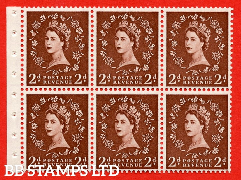 SG. 518. SB76. 2d red - brown. A fine UNMOUNTED MINT booklet pane of 6. Perf type (Ieb) with Good PERFS.