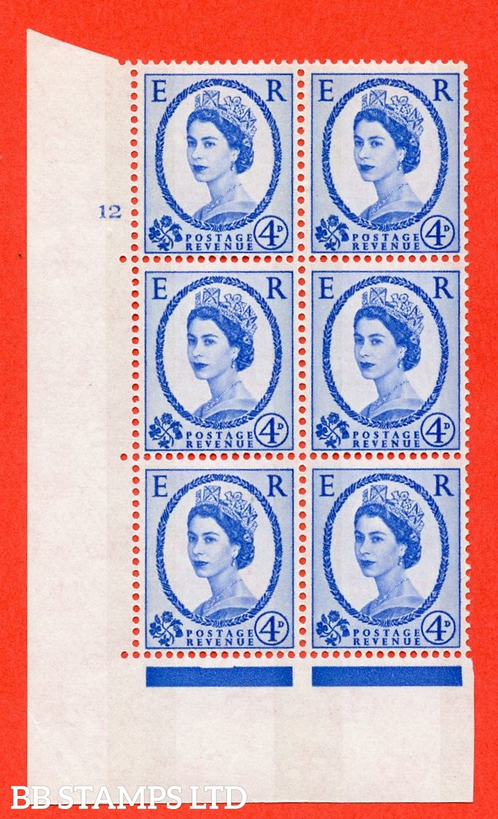 "SG.616a. S90. 4d Deep Ultramarine. A fine mounted mint  "" cylinder 12 no dot "" control block of 6 with perf type A (E/I). Blue Phosphor White paper"