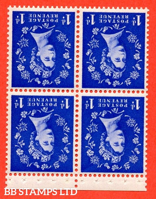 SG. 516Wi. SB21a.1d Ultramarine. A fine UNMOUNTED Mint WATERMARK INVERTED. Complete booklet pane of 4 with perf type P. Good perfs.