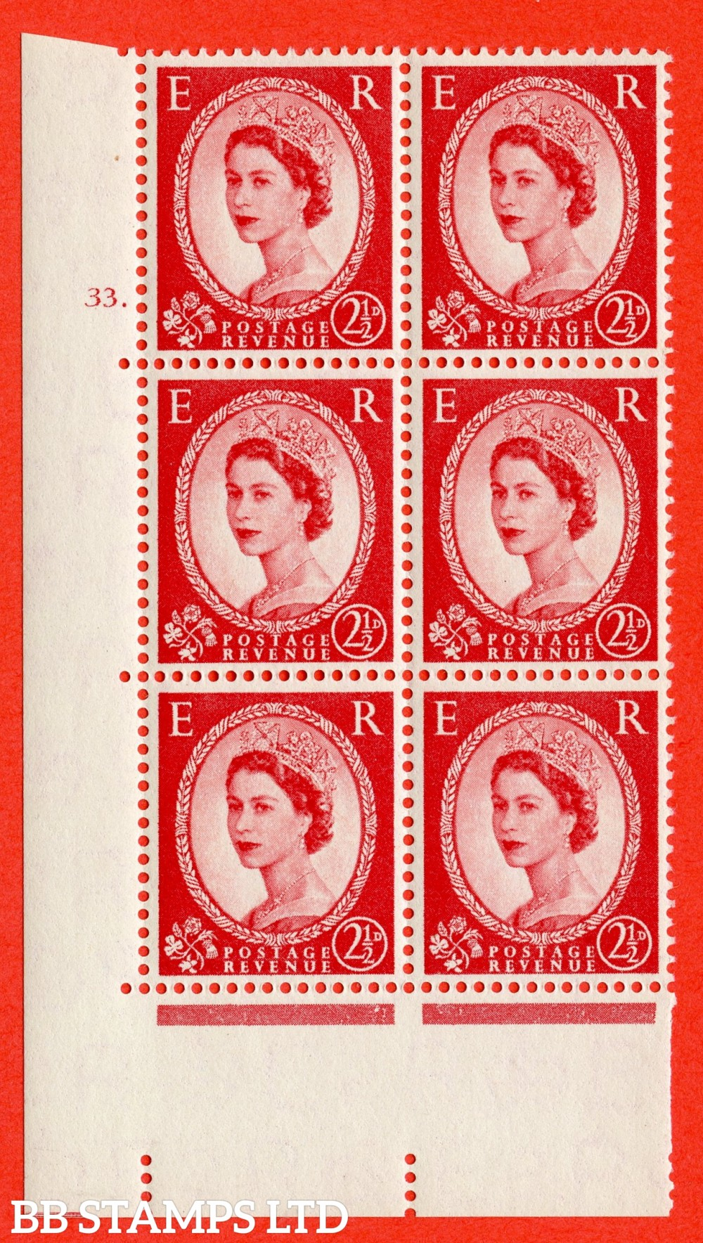 "SG. 544. S52. 2½d. Carmine - Red. A superb UNMOUNTED MINT "" cylinder 33 dot "" control block of 6 with perf type A E/I."