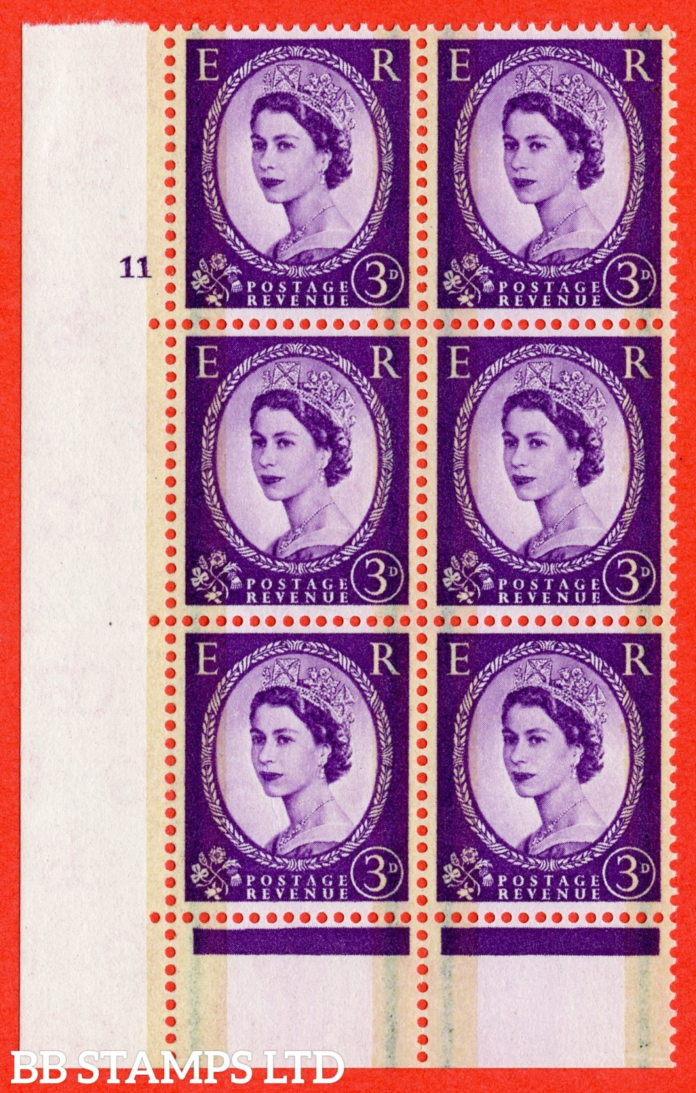"SG. 607. S73. 3d Deep lilac. A fine lightly mounted mint "" cylinder 11 no dot "" control block of 6 with perf type C E/P."