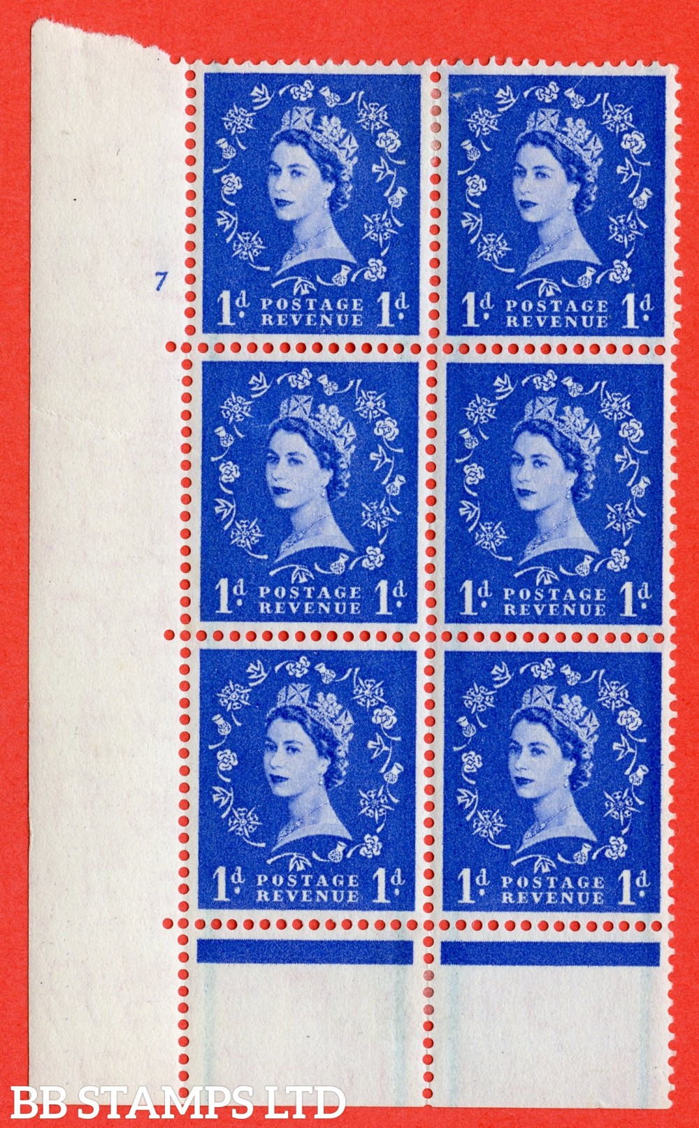 "SG. 562. S15. 1d Ultramarine. A fine lightly mounted mint "" cylinder 7 no dot "" control block of 6 with perf type C E/P."