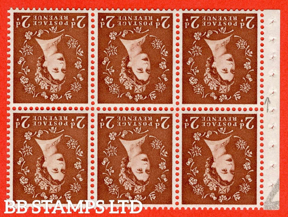 SG. 573. SB79a. 2d Light red - brown. A fine UNMOUNTED MINT booklet pane of 6. Perf type (I) with GOOD PERFS. Smooth edge. Cream Paper.
