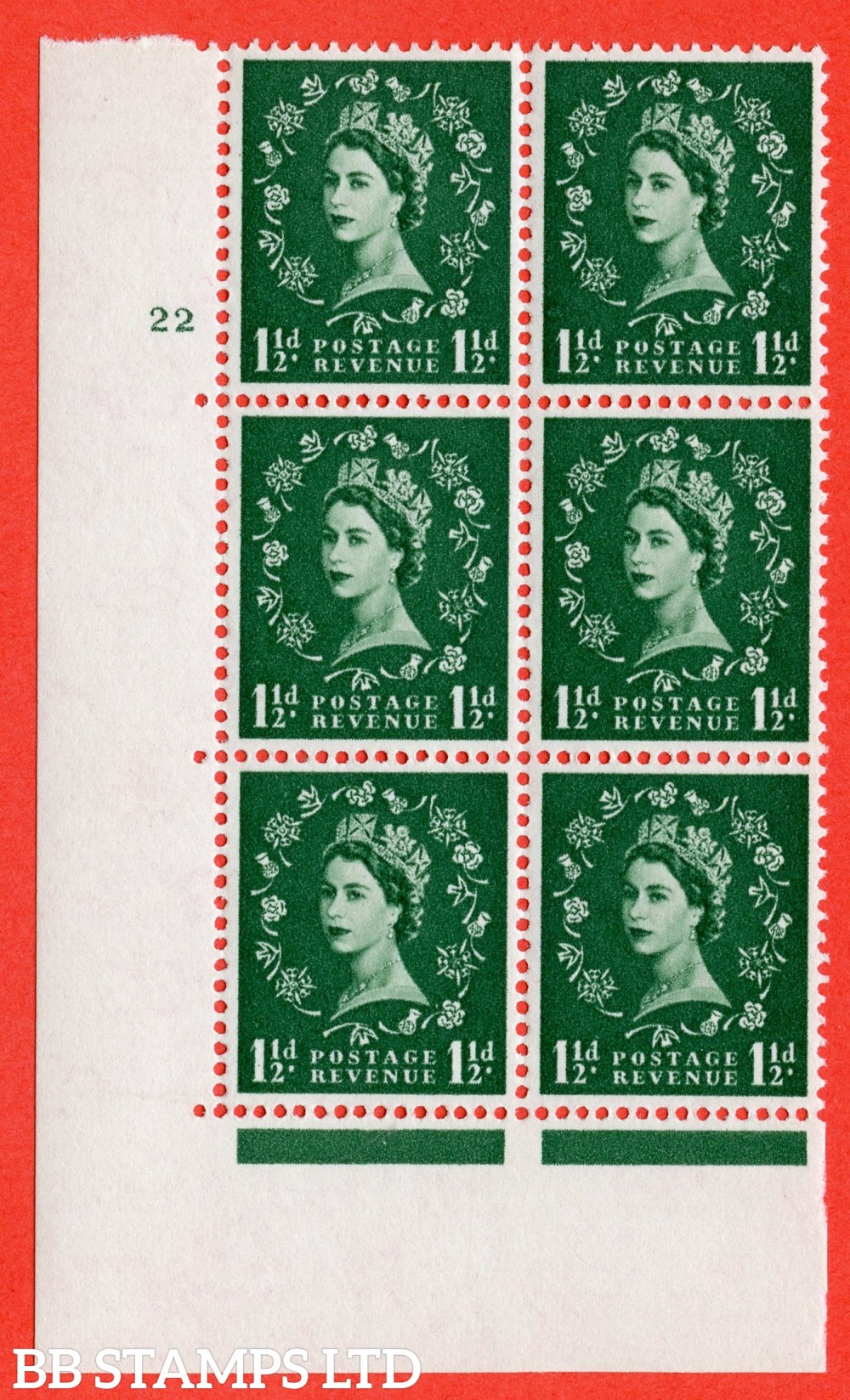 "SG. 572. S29. 1½d Green. A superb UNMOUNTED MINT "" cylinder 22 no dot "" control block of 6 with perf type A E/I. WHITE paper."