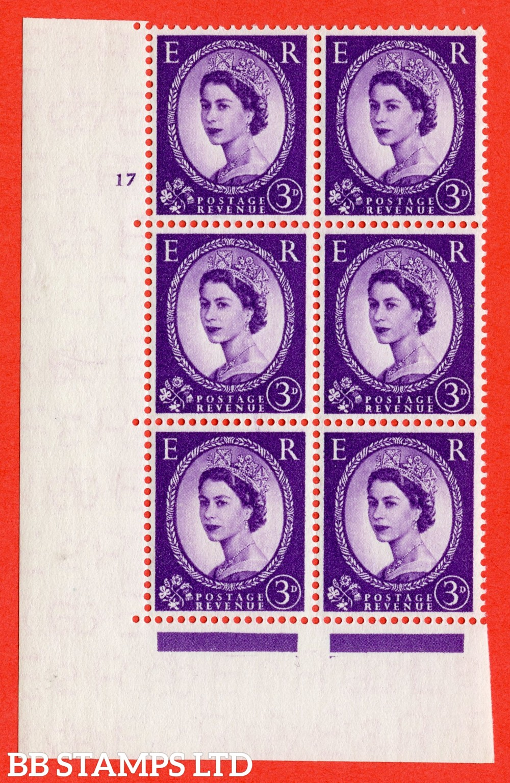 "SG. 545. S68. 3d. Deep - Lilac. A superb UNMOUNTED MINT "" cylinder 17 no dot "" control block of 6 with perf type A E/I."
