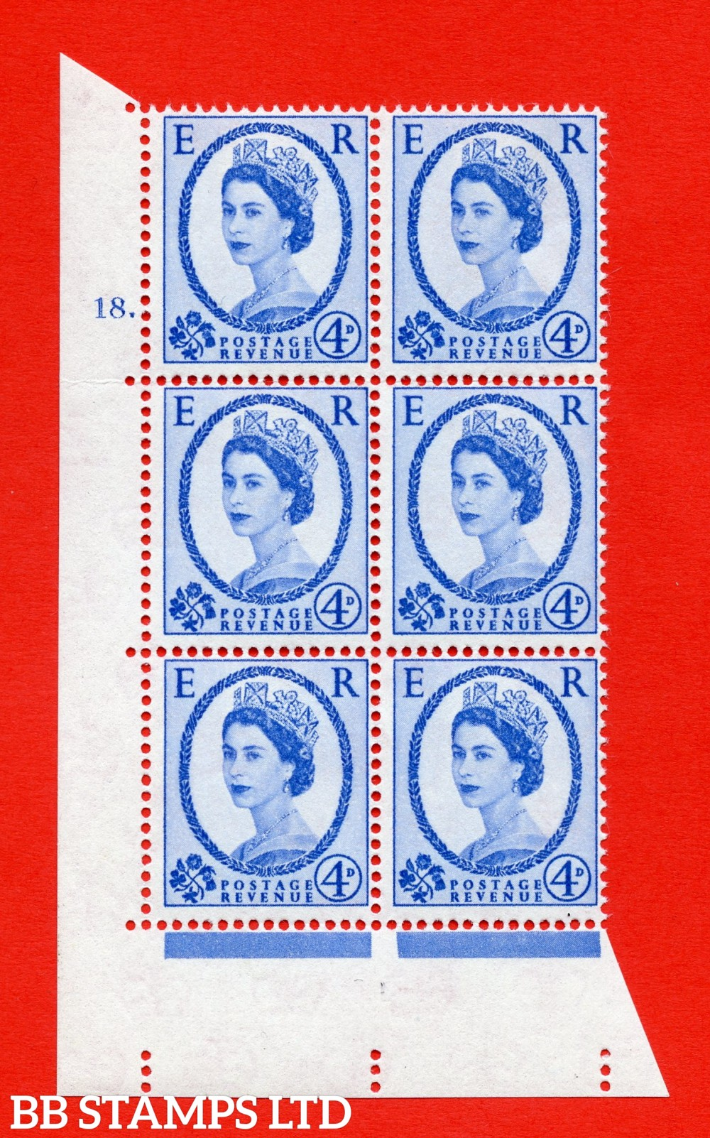 "SG. 576a. S85. 4d Deep Ultramarine. A superb UNMOUNTED MINT "" cylinder 18 dot "" control block of 6 with perf type A E/I. WHITE paper."