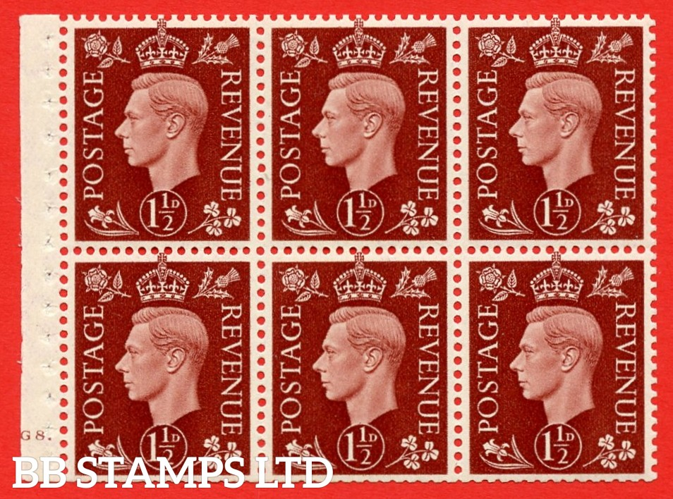 QB21 Perf Type B4A(I) 1½d Red-Brown x 6 Pane, UNMOUNTED MINT Watermark Upright. Cylinder Pane G8 dot ( SG. 464c ) Perf type B4A(I). Trimmed Perfs.
