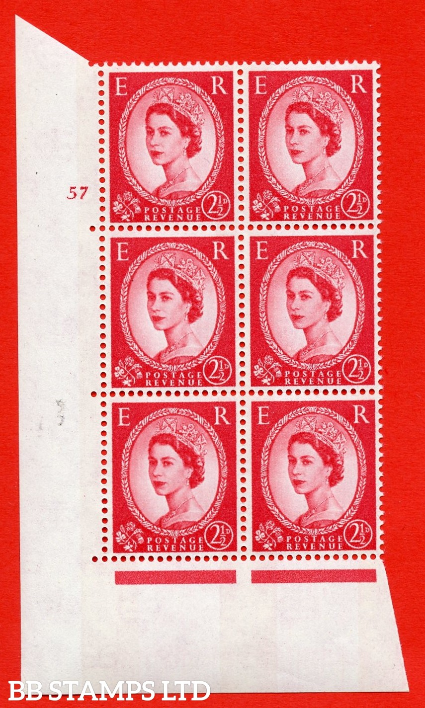 "SG.614. S66. 2½d Carmine red. 2B Photo. A superb UNMOUNTED MINT "" cylinder 57 no dot "" control block of 6 with perf type A (E/I). Blue Phosphor White paper"