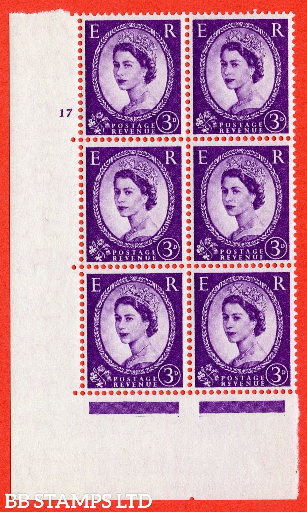 "SG. 545. S68. 3d. Deep - Lilac. A fine lightly mounted mint "" cylinder 17 no dot "" control block of 6 with perf type A E/I."