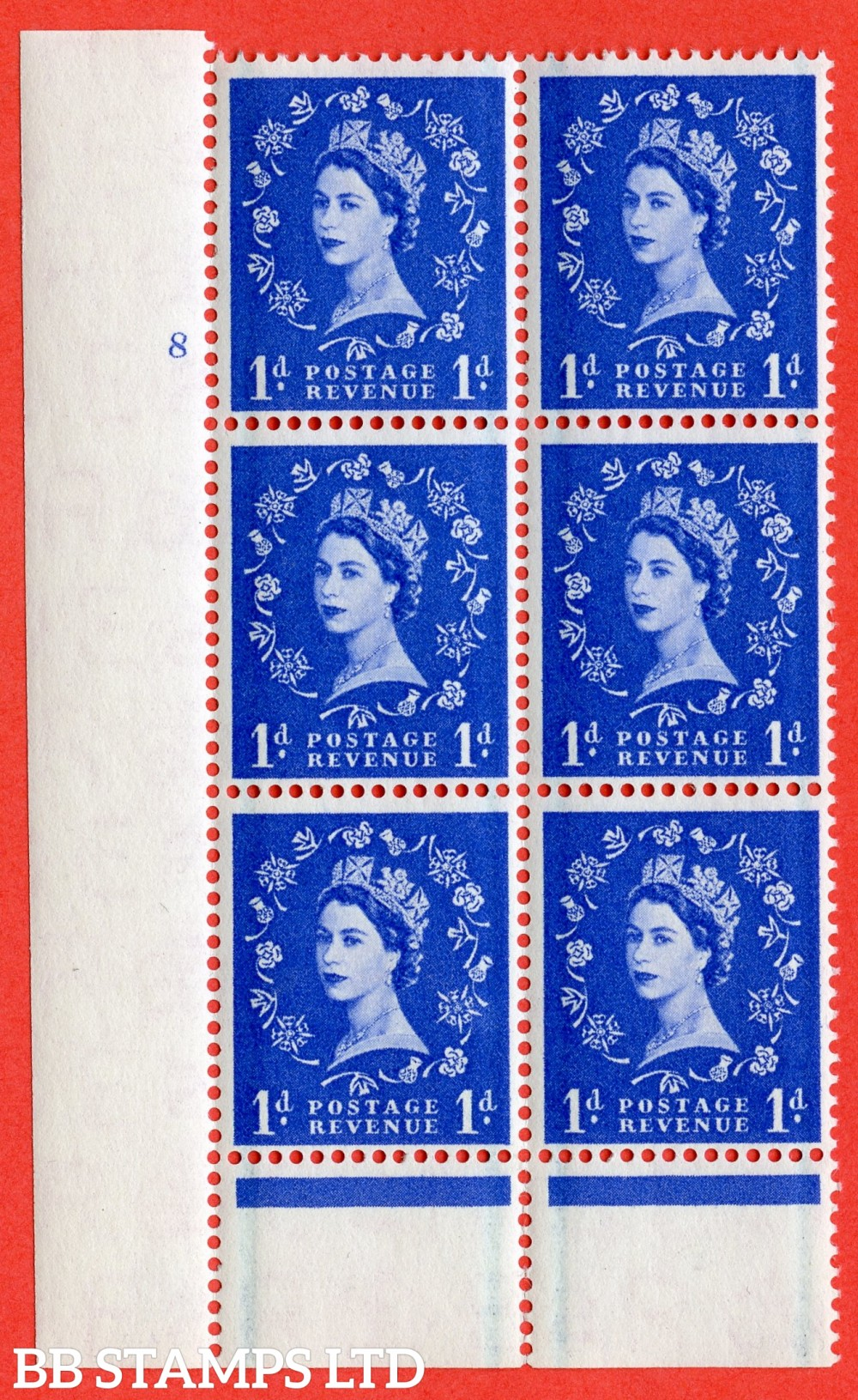 "SG. 562. S15. 1d Ultramarine. A superb UNMOUNTED MINT "" cylinder 8 no dot "" control block of 6 with perf type B I/P."