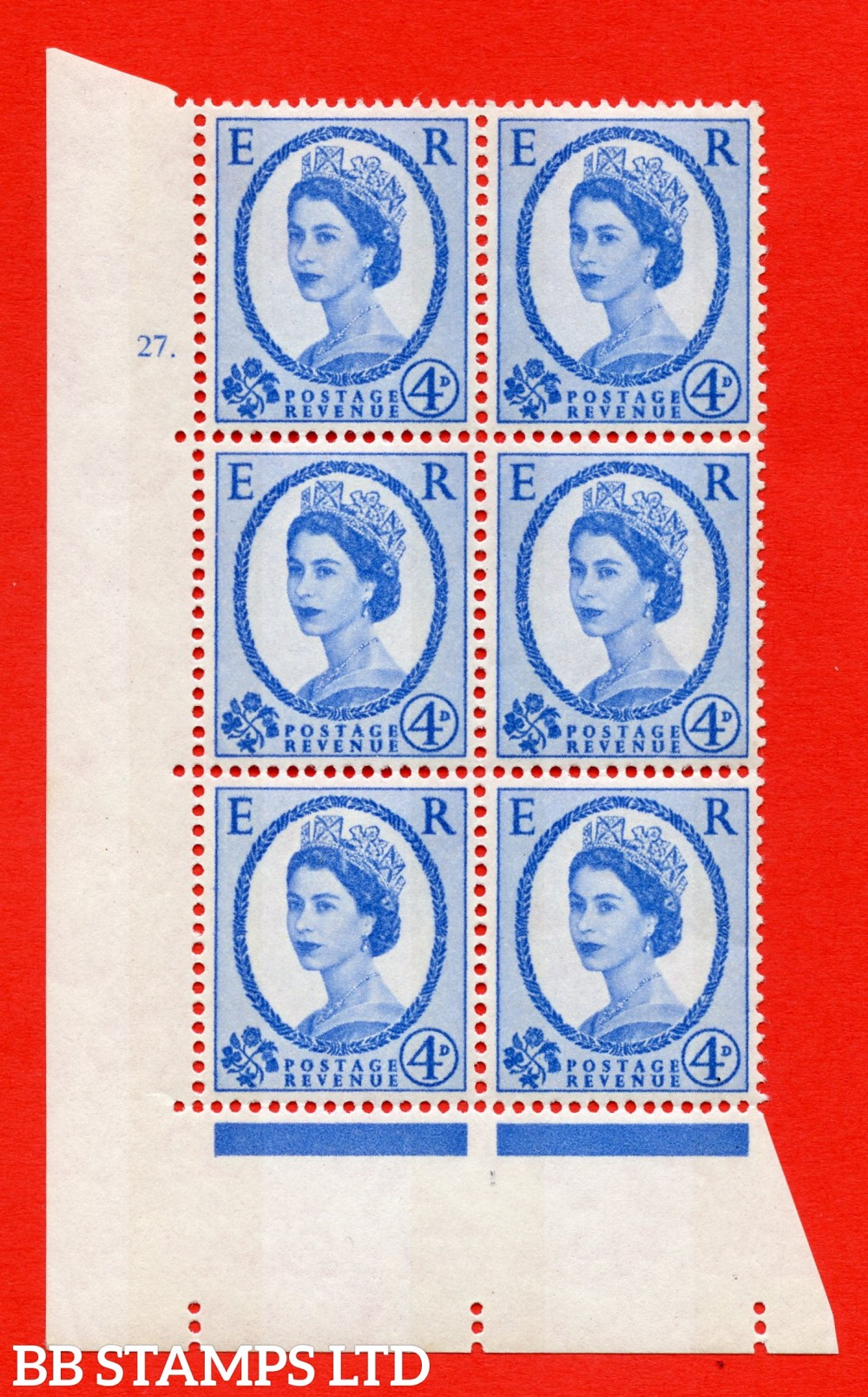 "SG. 576a. S85. 4d Deep Ultramarine. A superb UNMOUNTED MINT "" cylinder 27 dot "" control block of 6 with perf type A E/I. WHITE paper."