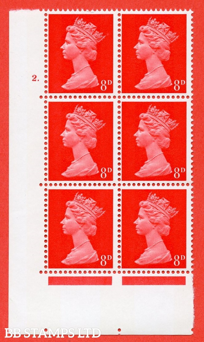 "SG. 738. U20. 8d bright vermilion  A superb UNMOUNTED MINT "" cylinder 2 dot "" control block of 6 with perf type A E/I. PVA gum. Head A."