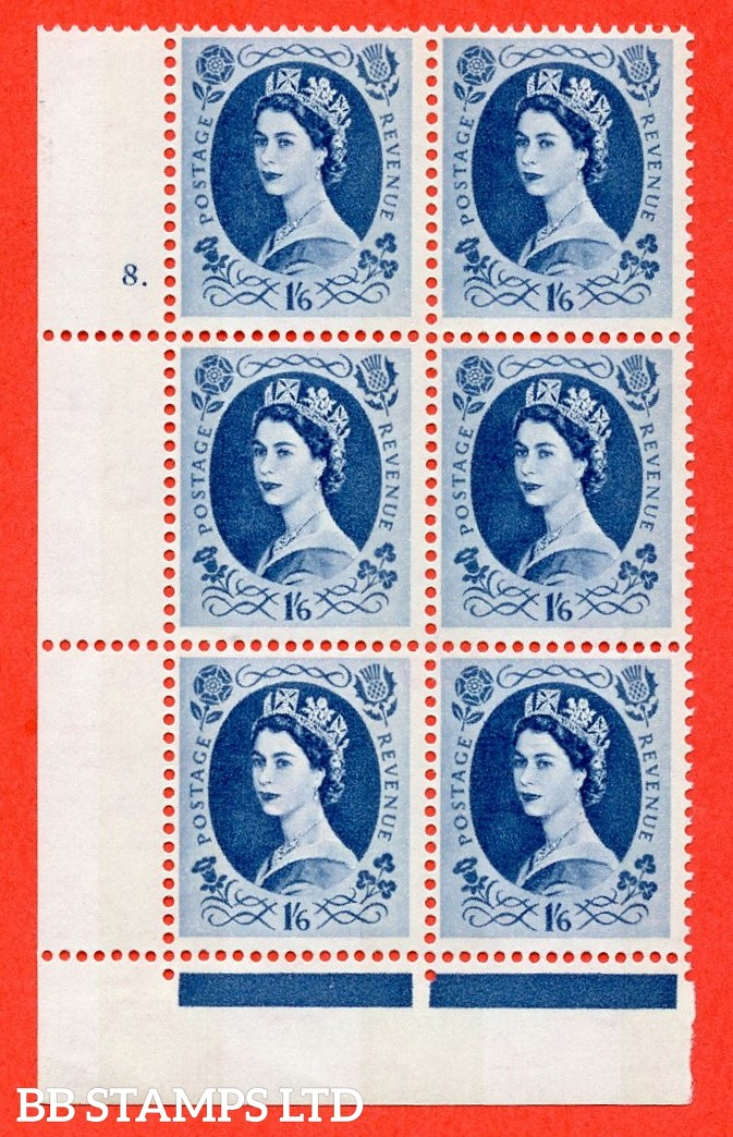"SG.618a. S154. 1/6d Grey Blue. A fine mounted mint "" cylinder 8 dot "" control block of 6 with perf type FL (P/E). violet Phosphor 9½mm"