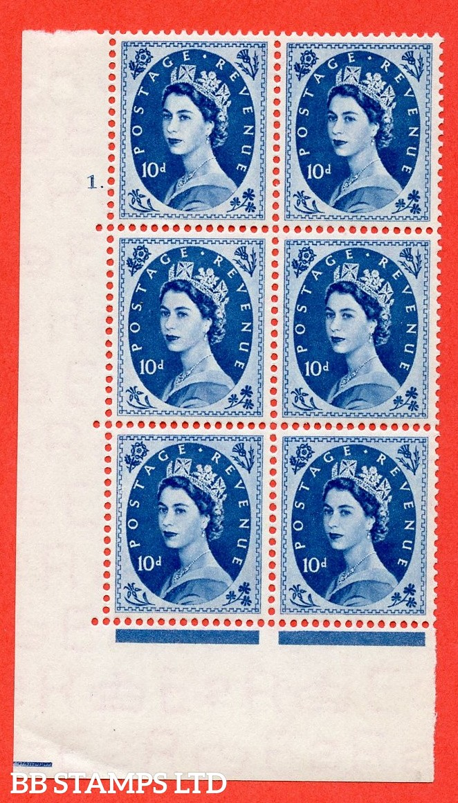 "SG. 527. S129. 10d Prussian blue. A fine mounted mint "" cylinder 1 dot "" control block of 6 with perf type A E/I."