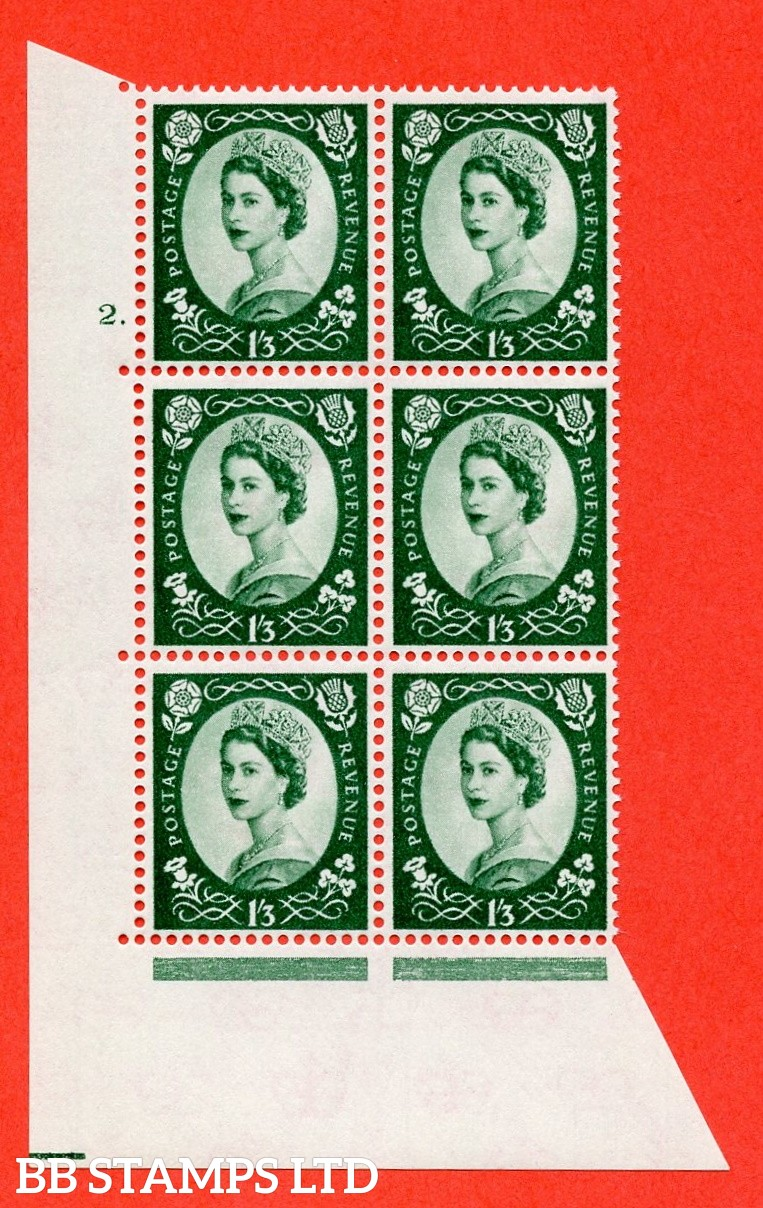 "SG. 585. S144. 1s 3d. Green. A superb UNMOUNTED MINT "" cylinder 2 dot "" control block of 6 with perf type A E/I. WHITE paper."