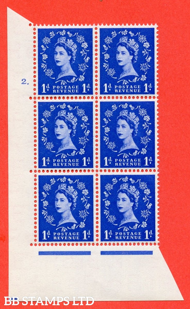 "SG. 516. S13. 1d Ultramarine. A superb UNMOUNTED MINT. "" cylinder 2 dot "" control block of 6 with perf type A E/I."