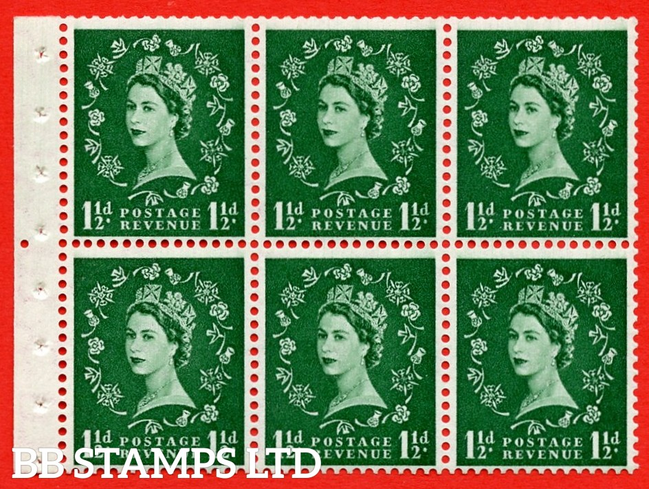 SG. 517. SB59. 1½d green. A fine UNMOUNTED MINT complete booklet pane of 6. Perf type (Iem) with Good PERFS.