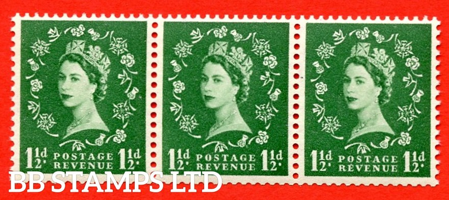 SG. 517a. S25o. 1½d Green. A superb UNMOUNTED MINT Coil strip of 3. Sideways Watermark. Variety Daffodil Flaw (Sideways Coil,Roll 8)