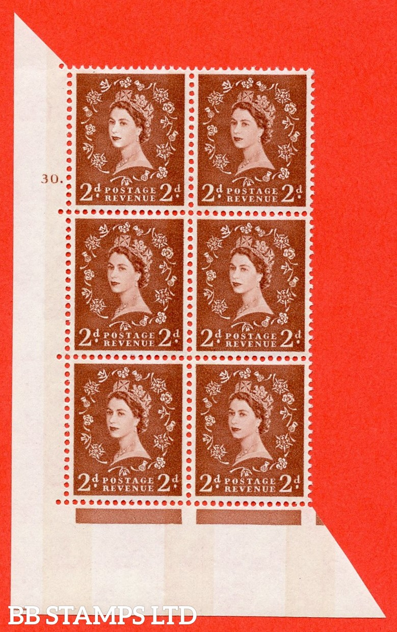 "SG.613a. S48. 2d Light red brown. A superb UNMOUNTED MINT "" cylinder 30 dot "" control block of 6 with perf type A (E/I). violet Phosphor 8mm Band."
