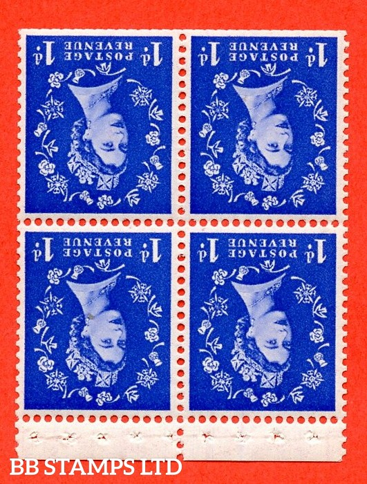 SG. 516Wi. SB21a.1d Ultramarine. A fine UNMOUNTED Mint WATERMARK INVERTED. Complete booklet pane of 4 with perf type P. Trimmed perfs.