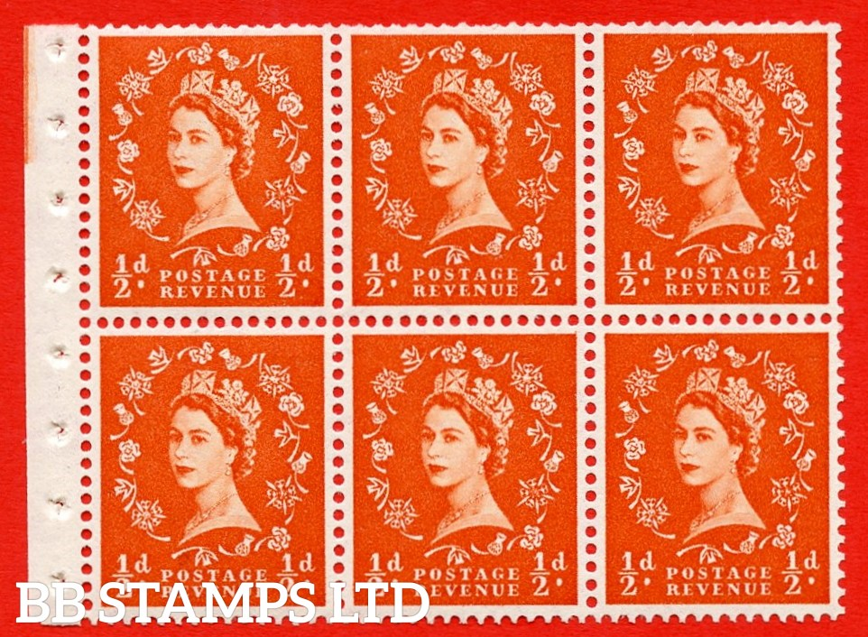 SG. 515. SB1. ½d orange - red. A fine UNMOUNTED MINTexample. Complete Booklet pane of 6. Perf Type Ieb. Good perfs.