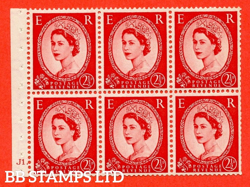 "SG. 519 b. SB80. 2½d carmine - red. A fine mounted mint cylinder "" J1 dot "" booklet pane of 6. Perf type (Ieb) with TRIMMED PERFS. Smooth edge."