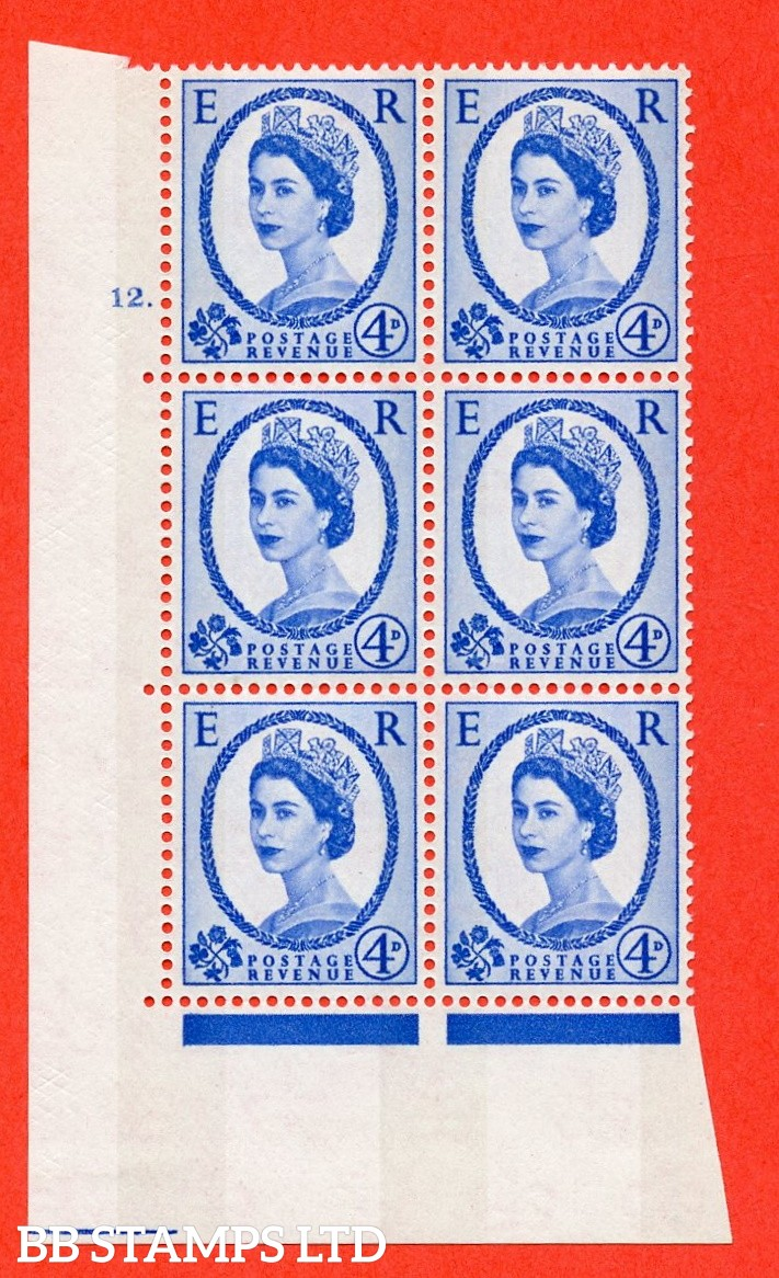 "SG.616a. S90. 4d Deep Ultramarine. A fine mounted mint "" cylinder 12 dot "" control block of 6 with perf type A (E/I). Blue Phosphor White paper"