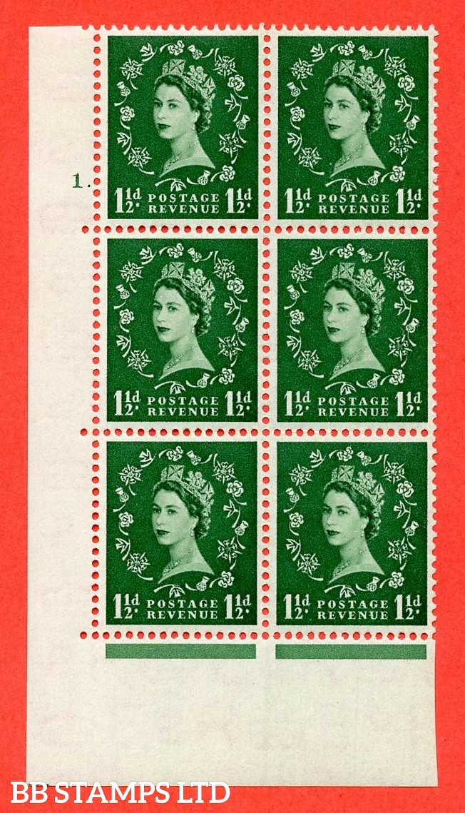 "SG. 517. S25. 1½d Green. A superb UNMOUNTED MINT. "" cylinder 1 dot "" control block of 6 with perf type A E/I."