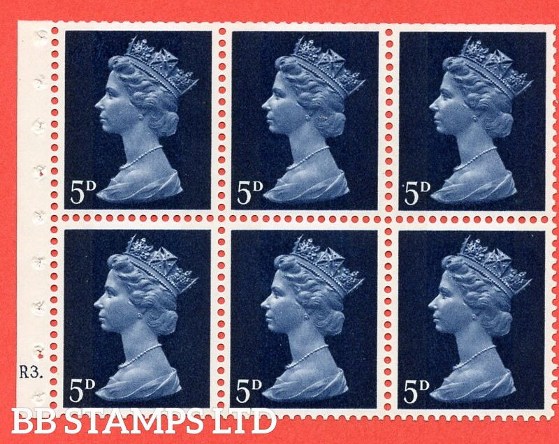 UB19 5d 2 Bands. UNMOUNTED MINT Complete Pre decimal machin Cylinder Pane of 6 R3 Dot . (UB19) Perf Type Ieb. Trimmed Perfs.