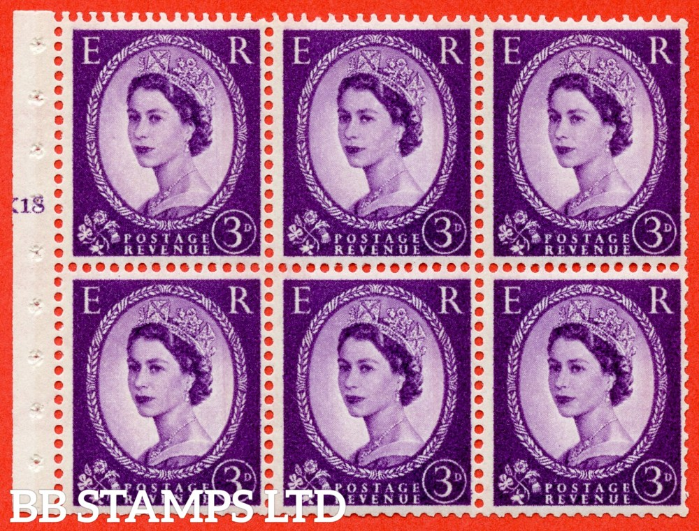 "SG. 615. SB100. 3d Deep Lilac. A fine UNMOUNTED MINT cylinder "" K18 T no dot "" booklet pane of 6. Perf type (I) with TRIMMED PERFS. Smooth edge. White Paper."
