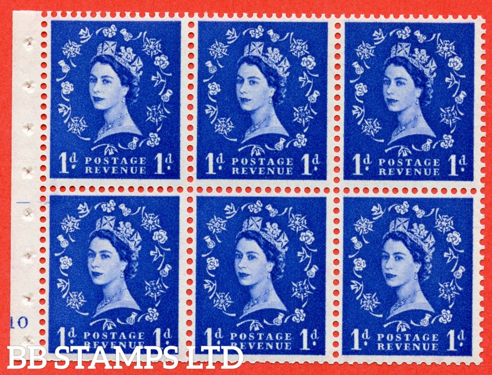 "SG. 571. SB30. 1d Ultramarine. A fine UNMOUNTED MINT cylinder "" F10 no dot "" booklet pane of 6. Perf type (I) with TRIMMED PERFS. Smooth edge Cream paper."